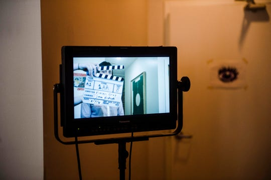 A monitor shows a live view of the frame on set during production of director Vivian Gray's as-yet-untitled short film Aug. 7, 2018.