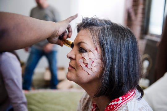 Actor Stephanie Norwood receives a makeup touch-up on the set of Vivian Gray's as-yet-untitled short film Aug. 7, 2018.