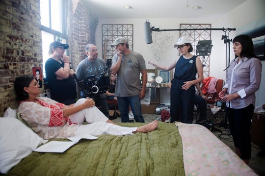 Director Vivian Gray, second from right, works with cast and crew on the set of her as-yet-untitled short film made possible thanks to a grant from Indie Memphis on Aug. 7, 2018.