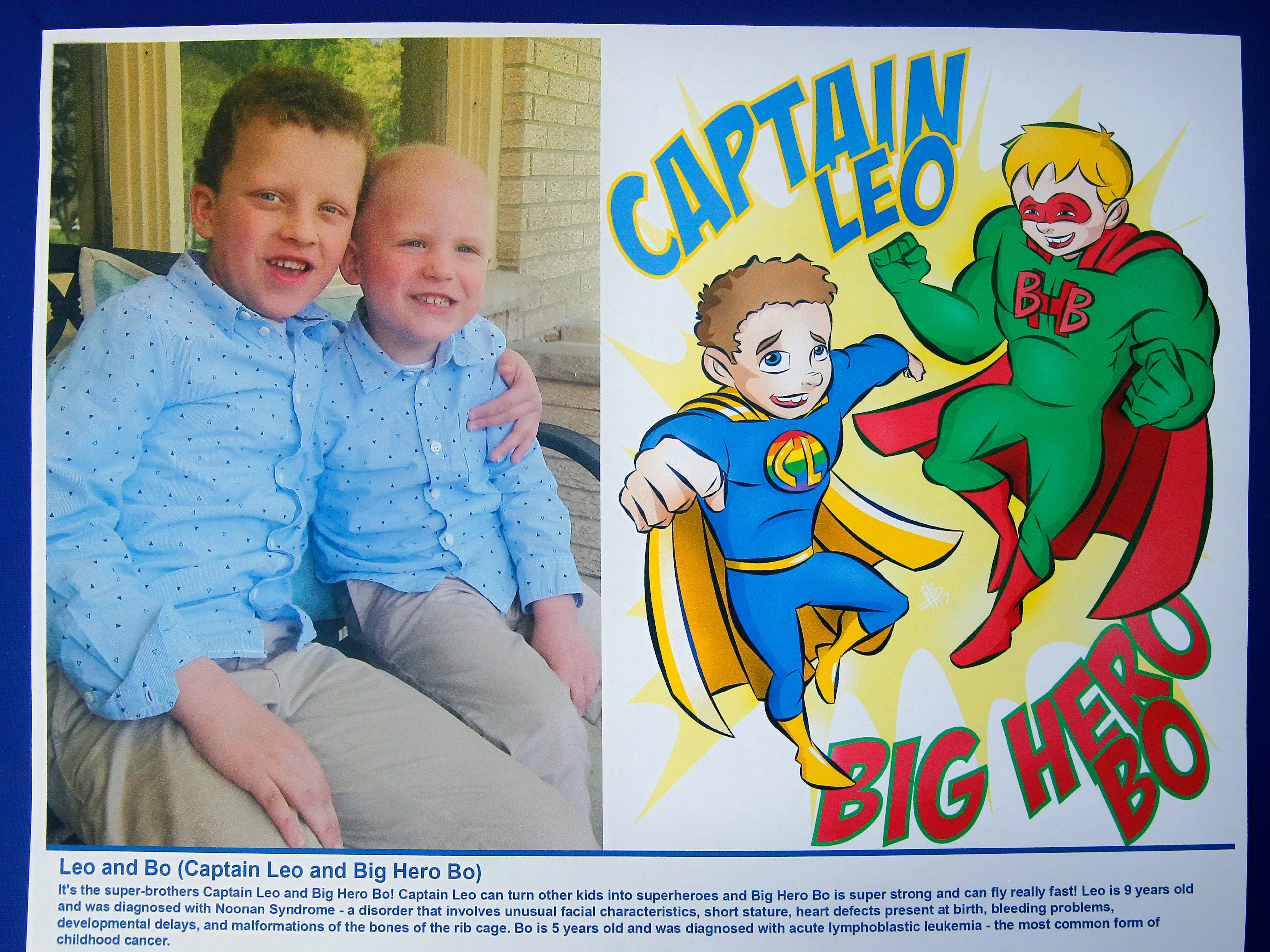 Superhero brothers, Leo as Captain Leo, left, and Bo, as Big Hero Bo, were created by Bryan Dyer, owner of You Are the Hero and an illustrator for kids with chronic or critical conditions.