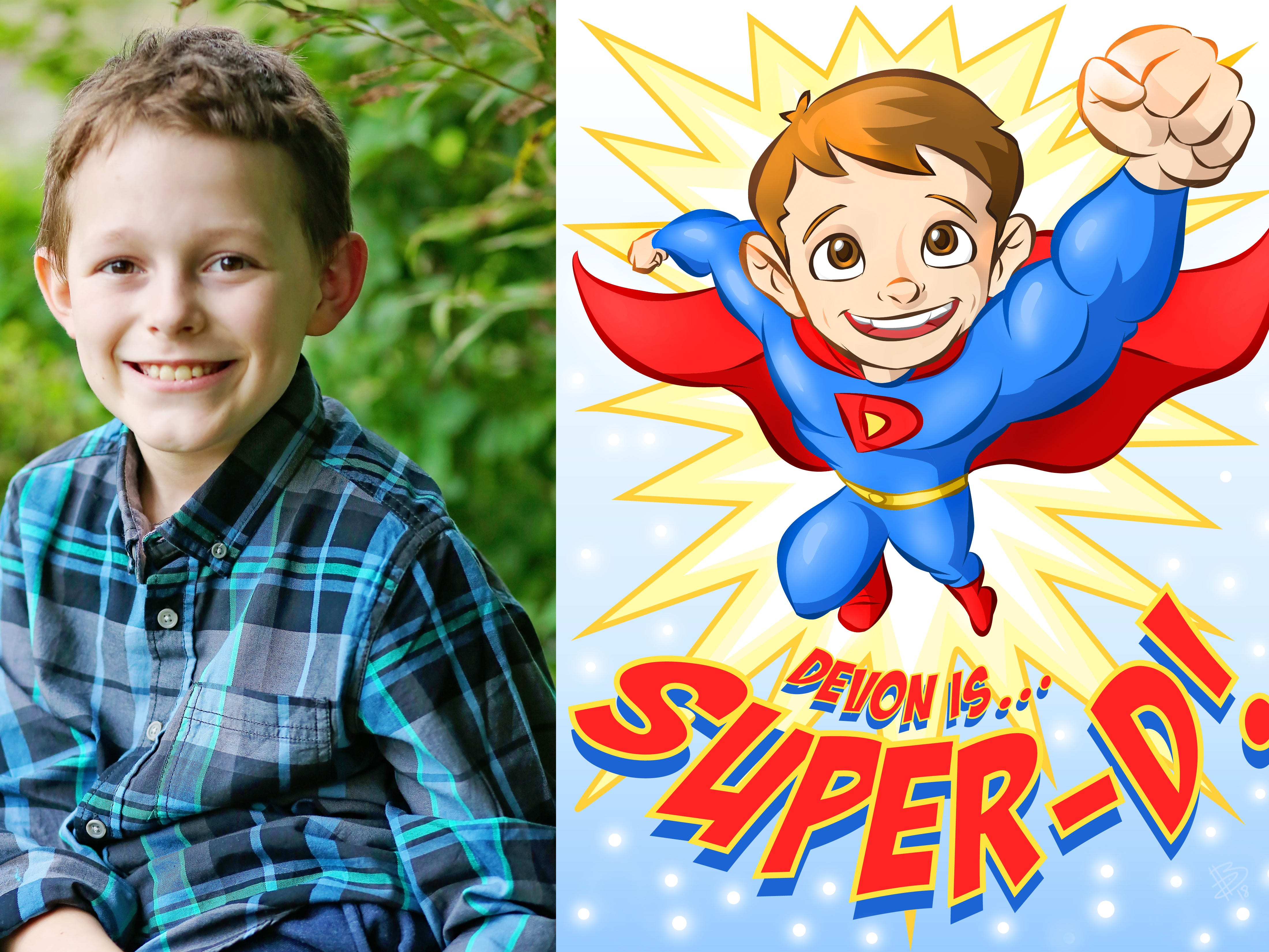 Super-D, a superhero identity of Devon Sweeney, was created by Bryan Dyer, owner of You Are the Hero.