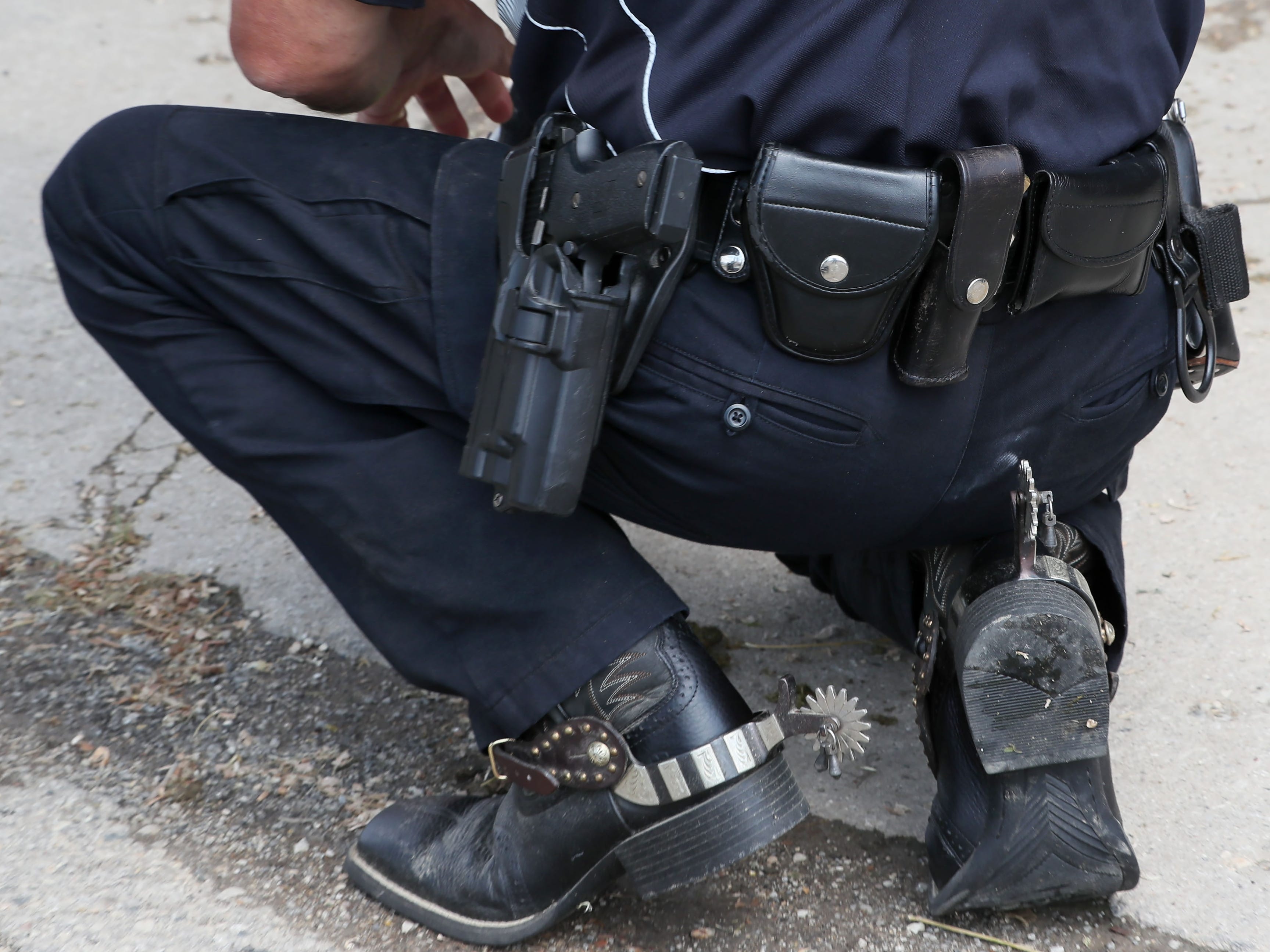 Along with standard law enforcement  gear, this mounted officer has spurs on his boots.