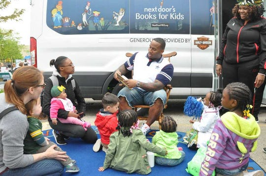 To support the annual fundraising efforts of the Next Door Foundation, Harley-Davidson helps recruit Green Bay Packers players. Earlier this year, defensive lineman Mike Daniels read to children at Next Door's mobile library, which Harley also bankrolled.