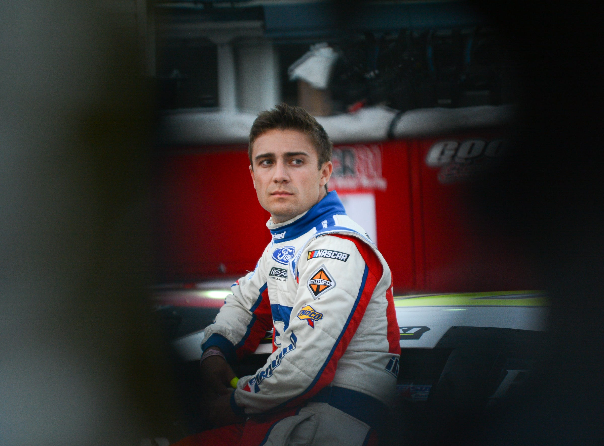 NASCAR development driver Ty Majeski awaits the start of the ARCA Midwest Tour Dixieland 250 on Tuesday, August 7, 2018, at Wisconsin International Raceway in Kaukauna, Wis.