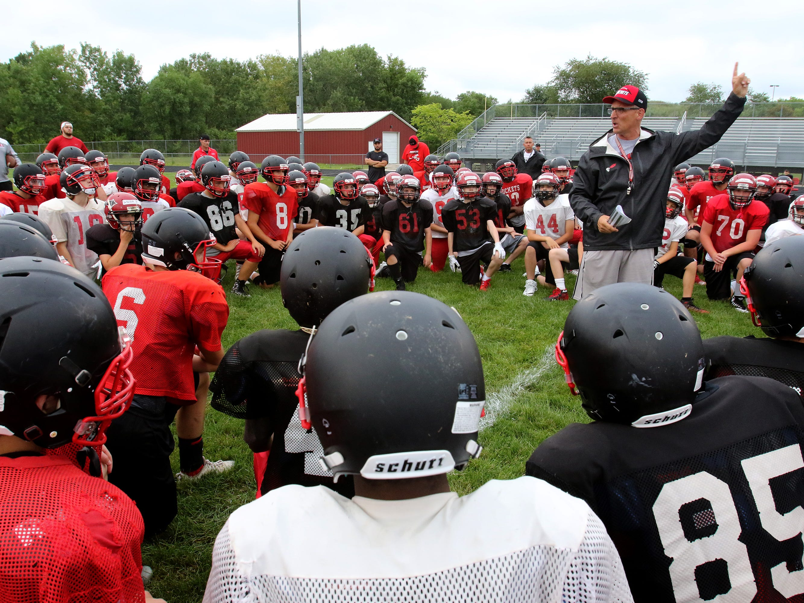 Defensive Coordinator Mark Hoffman directs sixth grade through varisty players on the next round of drills during South Milwaukee's Practice Night on Aug. 7 at South Milwaukee High School.