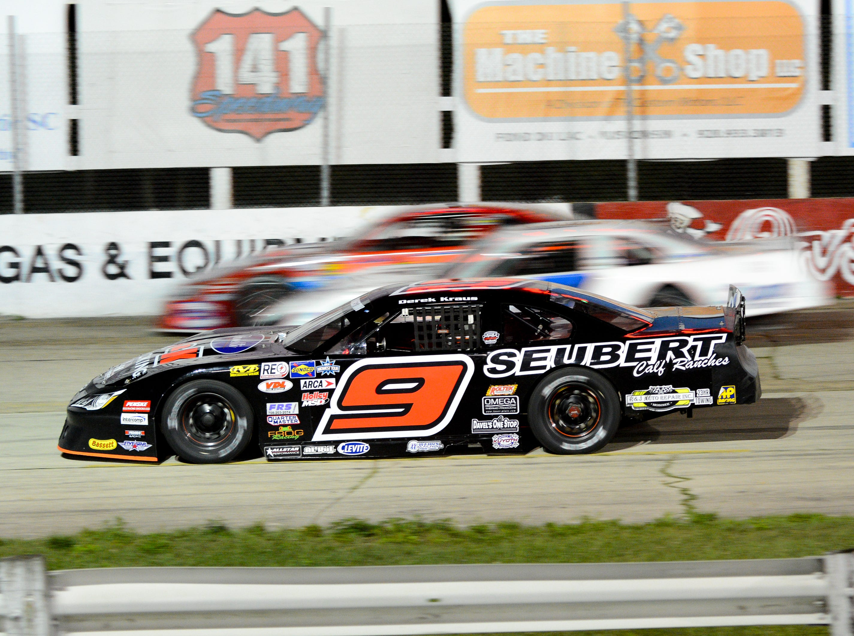 The field goes by as Derek Kraus slows with a mechnical problem during the ARCA Midwest Tour Dixieland 250 on Tuesday, August 7, 2018, at Wisconsin International Raceway in Kaukauna, Wis.