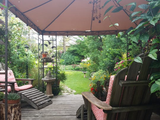 The view from the Voisin's backyard deck that so many visitors on the garden tour enjoyed.