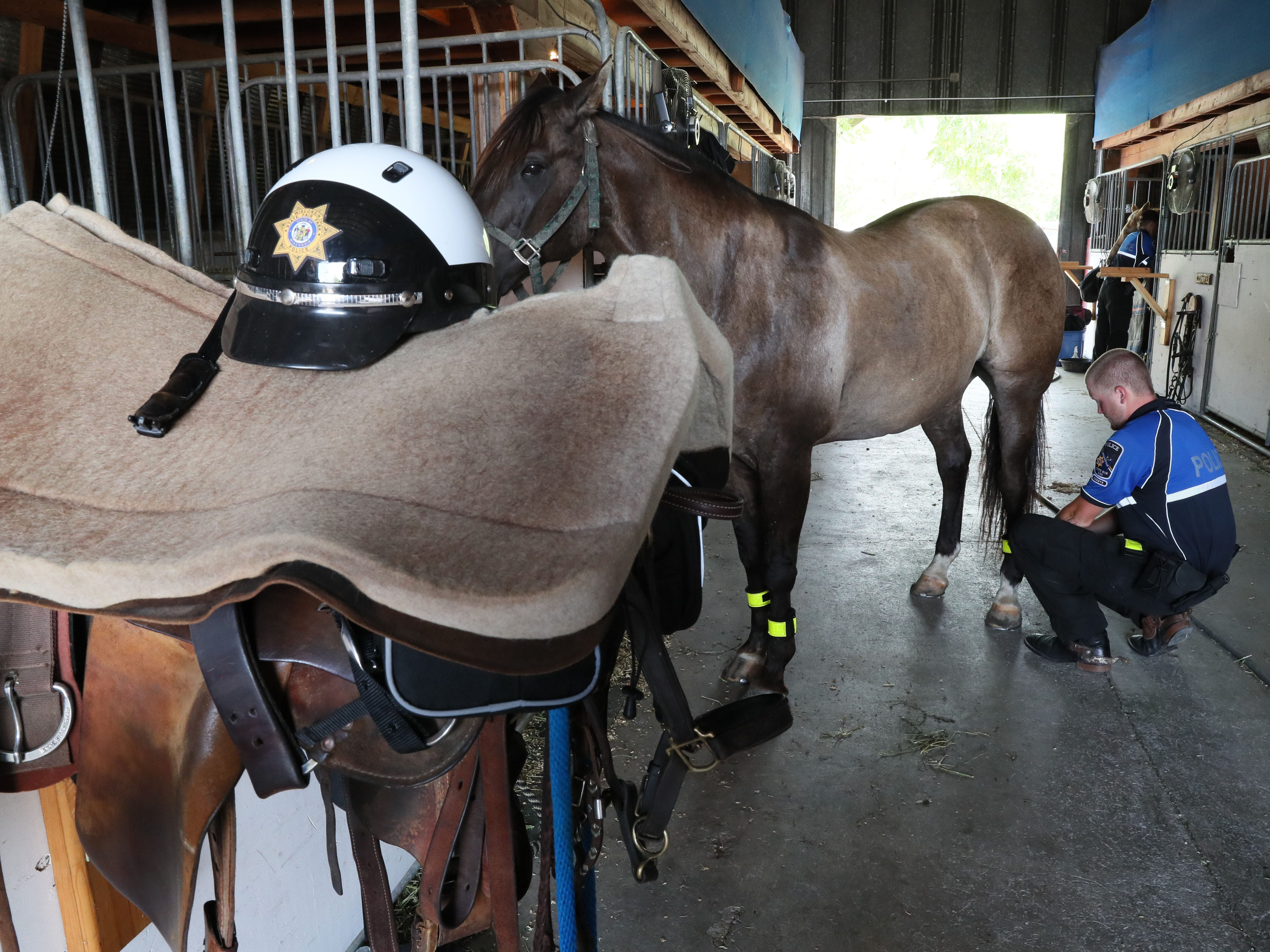 Officer Tristan Buddenhagen cleans dirt from the horseshoes while grooming his horse Casey.