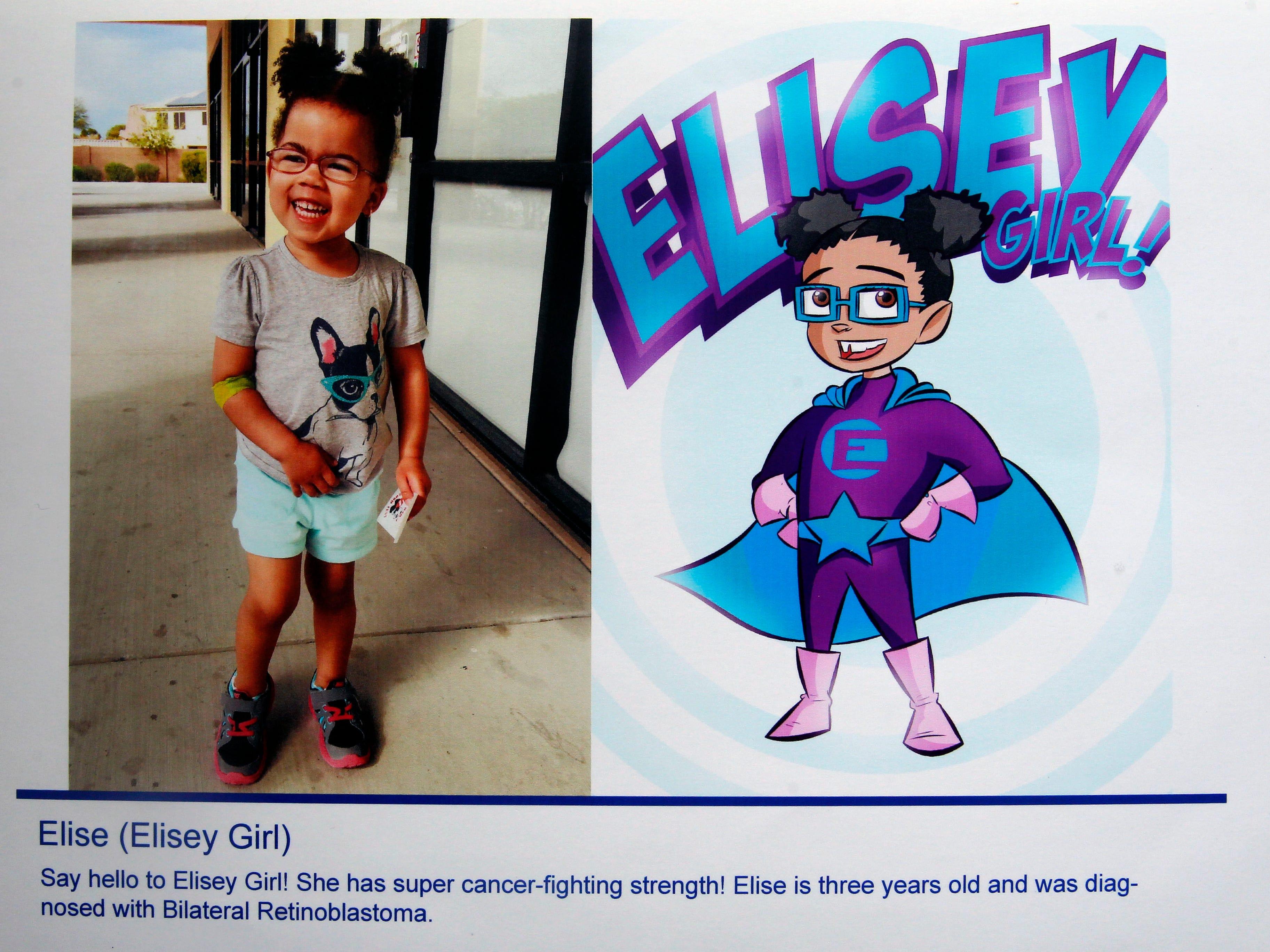 Elise's superhero identity is Elisey Girl.