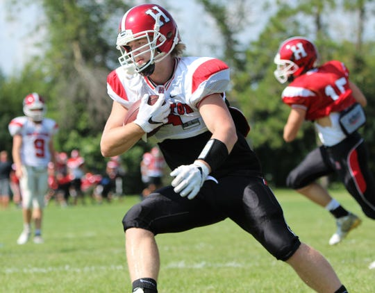 Sussex Hamilton running back Jackson Kollath carries the ball during a practice on August 8.
