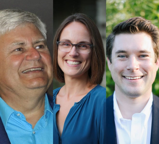 The three candidates running to represent the Democratic Party in the 23rd Assembly District are, from left, Will Demet, Liz Sumner and Andrew Lamb. The primary election is Aug. 14.