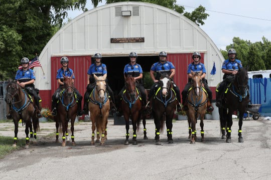 The Wisconsin State Fair mounted patrol riders are (from left) Tristan Buddenhagen and horse Casey;  Amanda Lepak and horse Roxy; Penny Lepak and horse Rosie; Sgt. Deb Caravello and horse Saul; Nathan Anhalt and horse Lil Joe; Kyle Wallschlaeger and horse Bugsy; and Joe Volz and horse Montana.