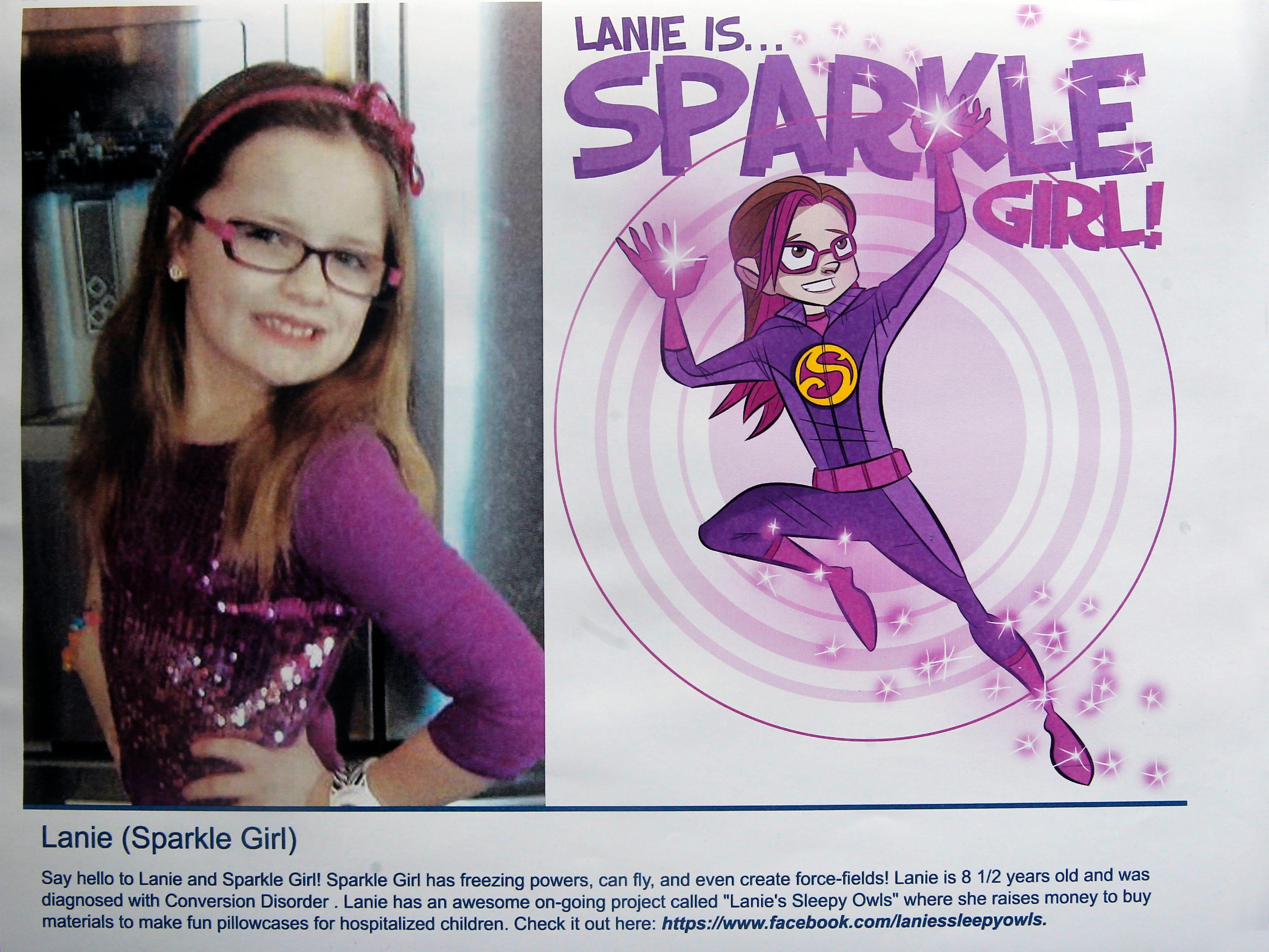 Lanie's superhero identity is Sparkle Girl.