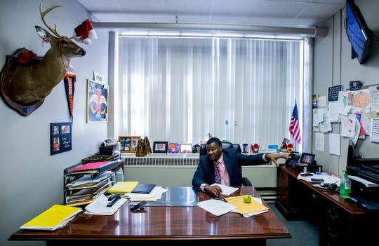Goodwyn Middle School principal Curtis Black talks in his office at the school in Montgomery, Ala. on Wednesday August 8, 2018.