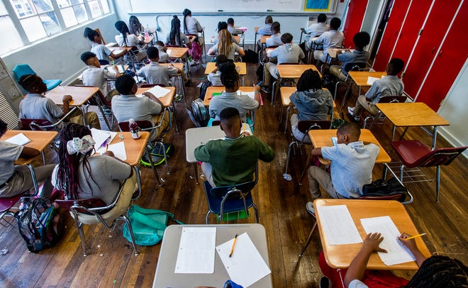 Goodwyn Middle School pupils work in  classes that are near capacity at the school in Montgomery, Ala. on Wednesday August 8, 2018.