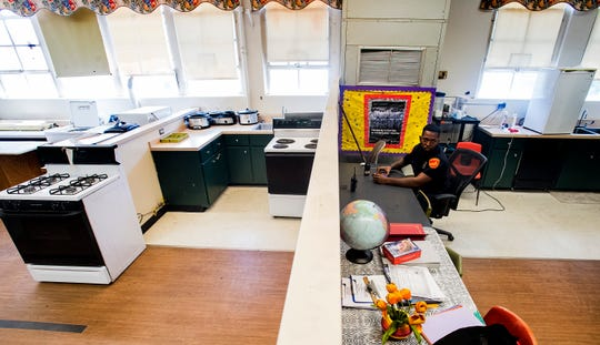 The School security office has been moved into an old Home Economics classroom at the near capacity Goodwyn Middle School in Montgomery, Ala. on Wednesday August 8, 2018.
