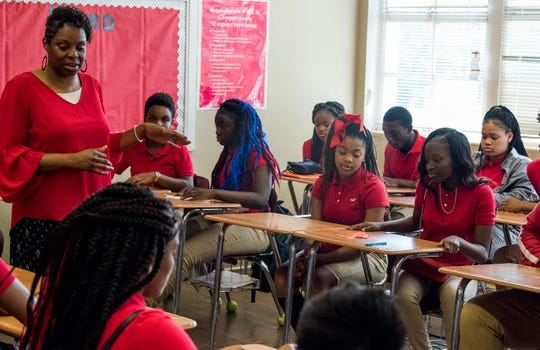 Students work in a near capacity classroom at Goodwyn Middle School in Montgomery, Ala. on Wednesday August 8, 2018.