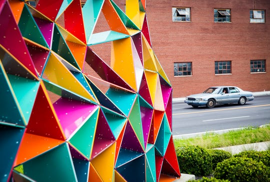 The Extess sculpture in downtown Muncie on Madison Street.