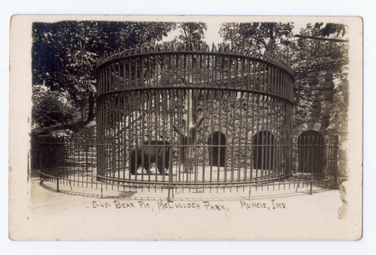 The bear pit that was once a feature of Muncie's McCulloch Park is shown on this picture postcard from around 1910.