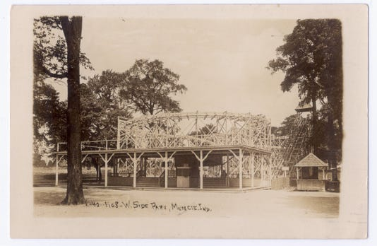 6 West Side Park Triple Figure Eight Roller Coaster Postcard Circa 1910