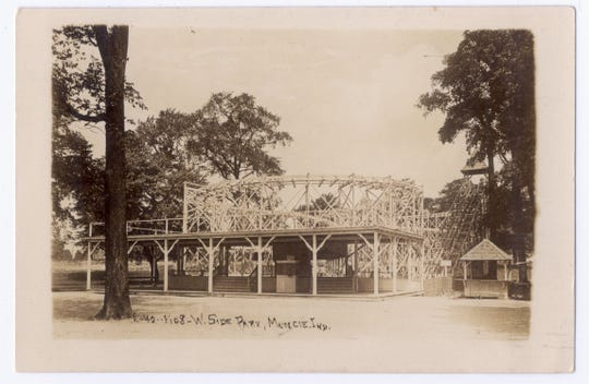 Before it became a city park, Westside Park included such amusement park features as this triple figure-eight roller coaster, shown on a postcard from around 1910.