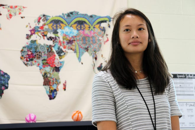 Emily Ayers stands in her new classroom at Thompson's Station Middle School on Aug. 8, 2018.