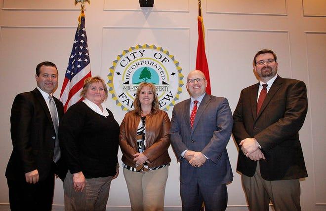 Fairview Mayor Patti Carroll (center) with City Commission members (l-r) Scott Lucas, Debby Rainey, Shannon Crutcher and Derek Burks.