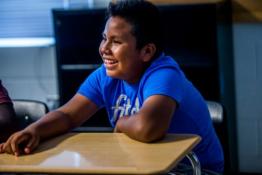 Bruno Perez, 12, of Naples, participates in the Raising Gentle'men program on Tuesday, July 17, 2018, at Golden Gate High School. The program is taught by Steve Aguerrebere, program advocate for The Shelter for Abused Women & Children.
