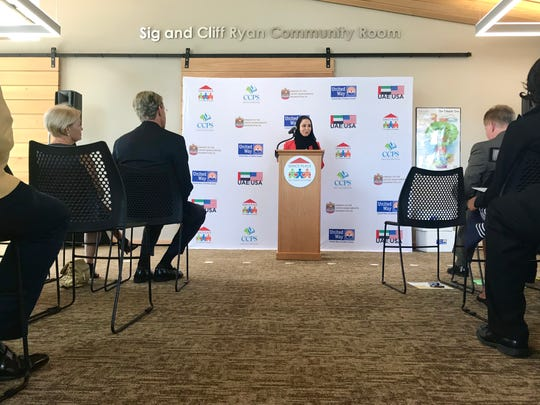 Dana Al Marashi, head of Heritage and Social Affairs at the UAE Embassy in Washington, D.C., announces a $2.7 million donation to Collier County Wednesday, Aug. 8, 2018, at Grace Place.