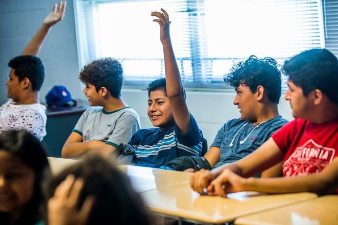 Students participate in the Raising Gentle'men program Tuesday, July 17, 2018, at Golden Gate High School. The program is taught by Steve Aguerrebere, program advocate for The Shelter for Abused Women & Children.