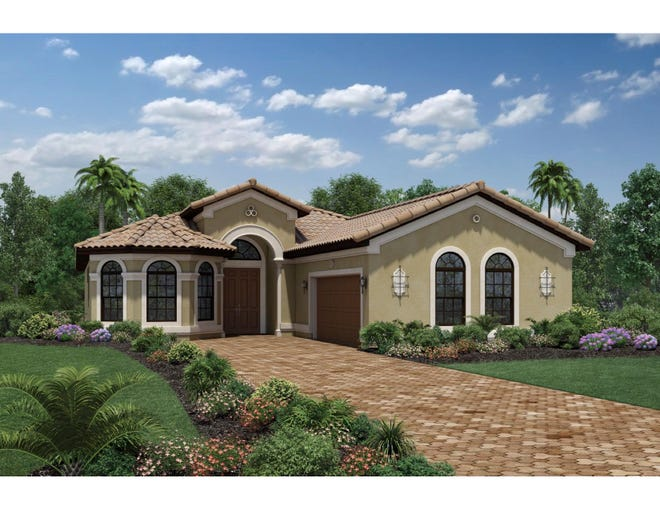 The move-in ready Salerno Chateau at Bonita Lakes includes a gourmet kitchen, an expansive master bedroom suite, and a spacious backyard.