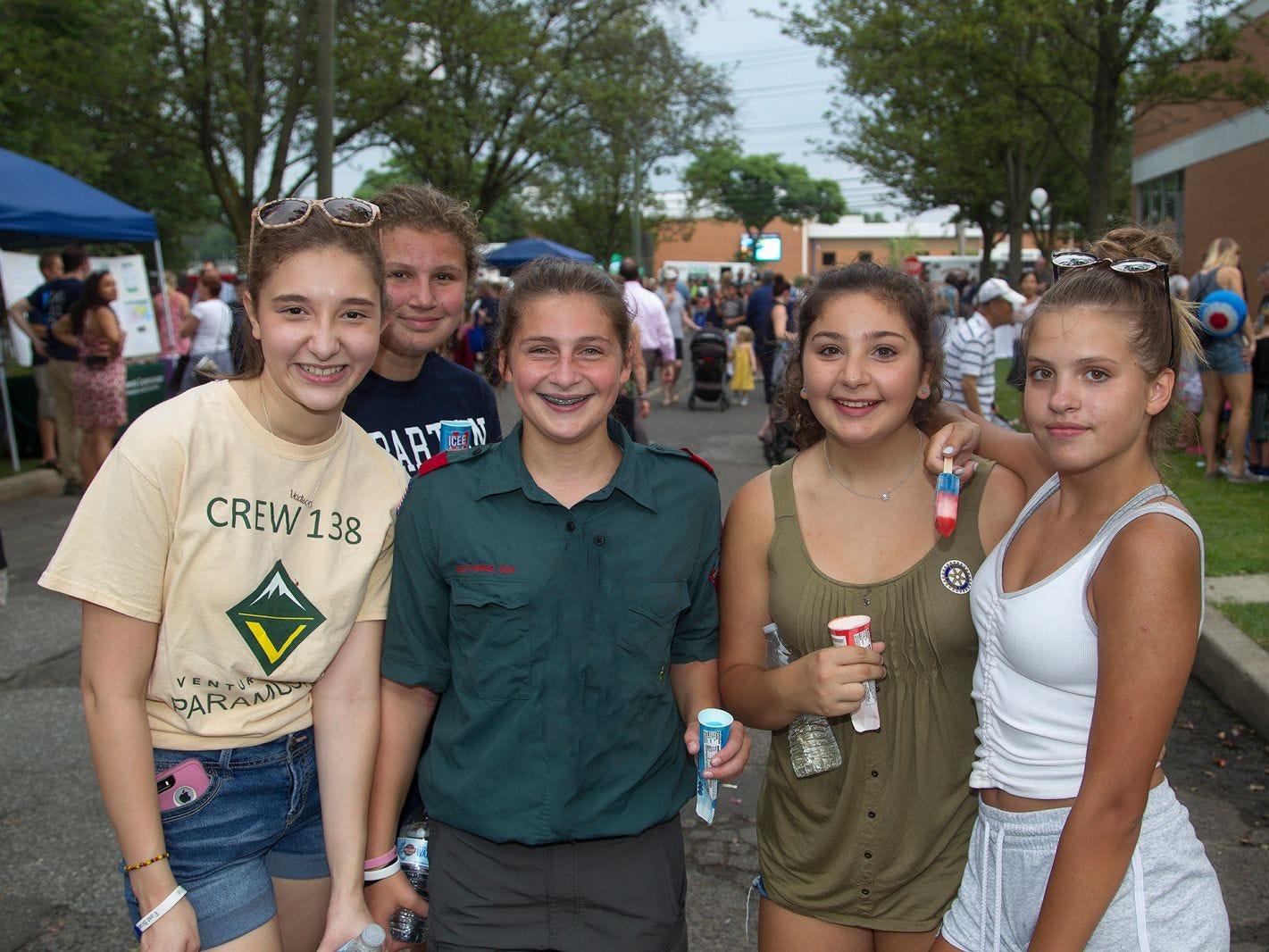 Madison, Ashley, Raelin, Angelique, Mya. Paramus National Night Out 2018 behind Paramus Library. 08/07/2018