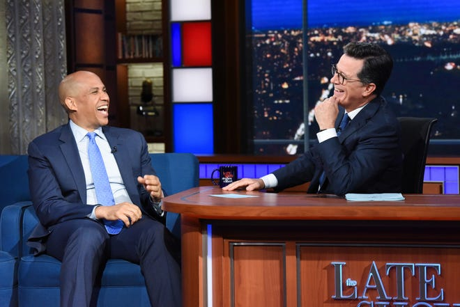 The Late Show with Stephen Colbert and guest Cory Booker during Tuesday's August 7, 2018 show. Photo: Scott Kowalchyk/CBS ©2018 CBS Broadcasting Inc. All Rights Reserved.