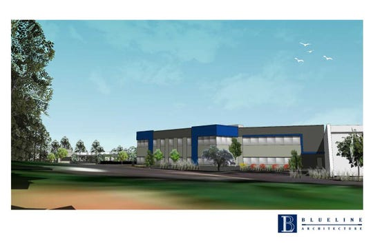 A rendering of the addition to be constructed for Konica Minolta in Ramsey.