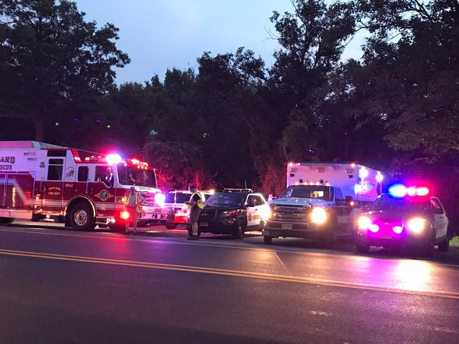 A large police presence gathered near Ramapo Lake in Oakland Tuesday nightm Aug. 7, 2018.