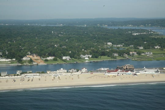 The Sands Beach Club in Sea Bright with the Navesink River in the distance.