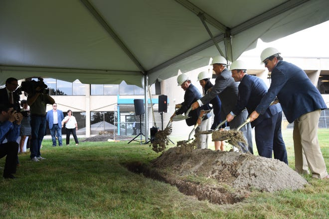 Ground breaking on an expansion project at Konica Minolta in Ramsey on Wednesday, August, 8 2018.