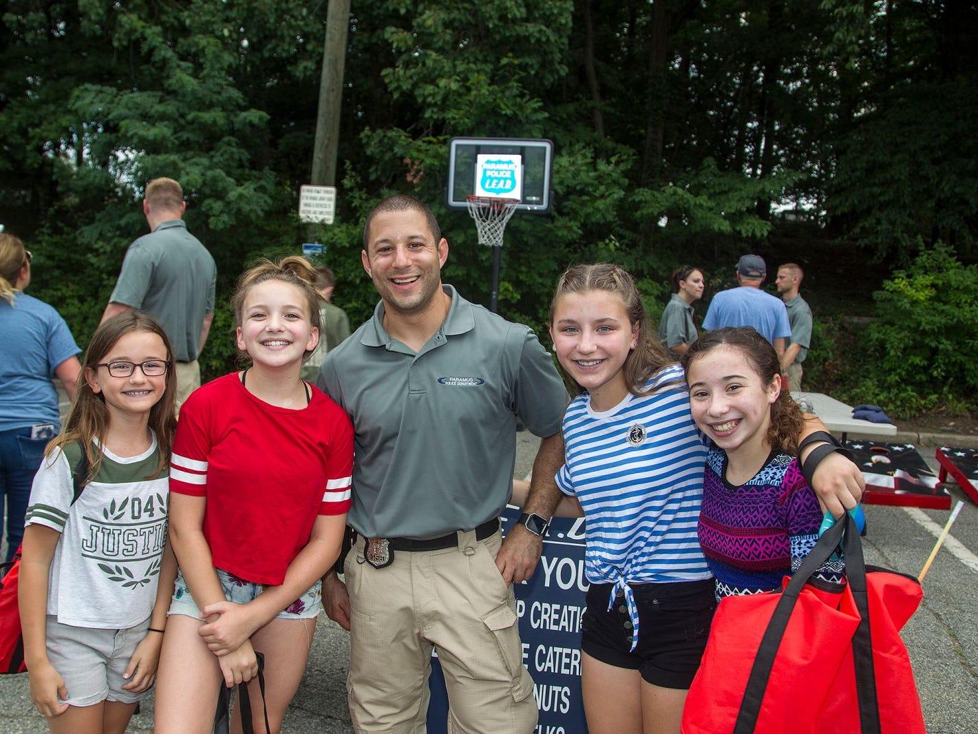 Kaitlyn, Marissa, Officer Cardone, Meghan, Maria. Paramus National Night Out 2018 behind Paramus Library. 08/07/2018