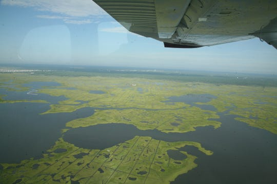 Marshelder Pond and the Edwin Forsythe National Wildlife Refuge west of Harvey Cedars in Barnegat Bay.