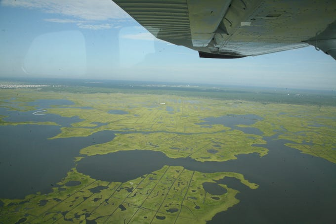 Marshelder Pond and the Edwin Forsythe National Wildlife Refuge west of Harvey Cedars in Barnegat Bay.