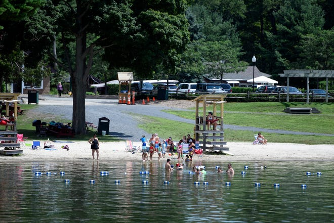 A beach on Greenwood Lake, NY on Wednesday, August 8, 2018.