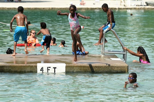 Campers form Camp Youth Development in Paterson swim at Graydon Pool in Ridgewood on Wednesday, August 8, 2018. Three times a week for three weeks during the summer the campers swim at the pool through funding provided by Ridgewood Citizens For Swimming.