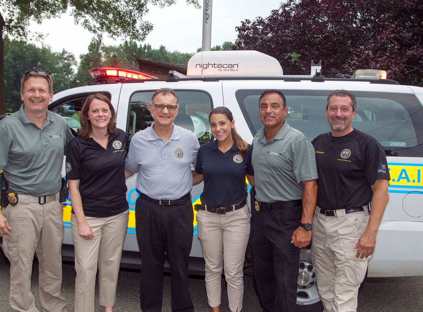 Chief of Police Kenneth R. Ehrenberg, Elizabeth Rebein, Dennis Calo, Alexa Guidetti, Deputy Chief Rob Guidetti, Robert chief of county investigators Anzilotti. Paramus National Night Out 2018 behind Paramus Library. 08/07/2018