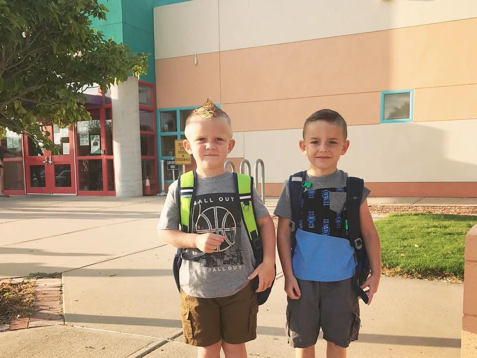 Benjamin and Tyler headed to kindergarten.