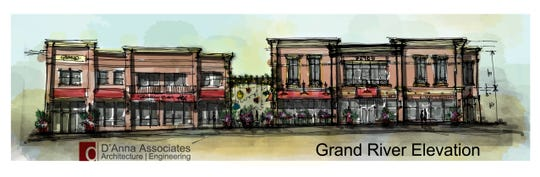 The rendering shows the Samurai Hibachi & Sushi buildings on Grand River west of Power Road in Farmington. The building on the left is expected to open this fall. The other building is proposed.