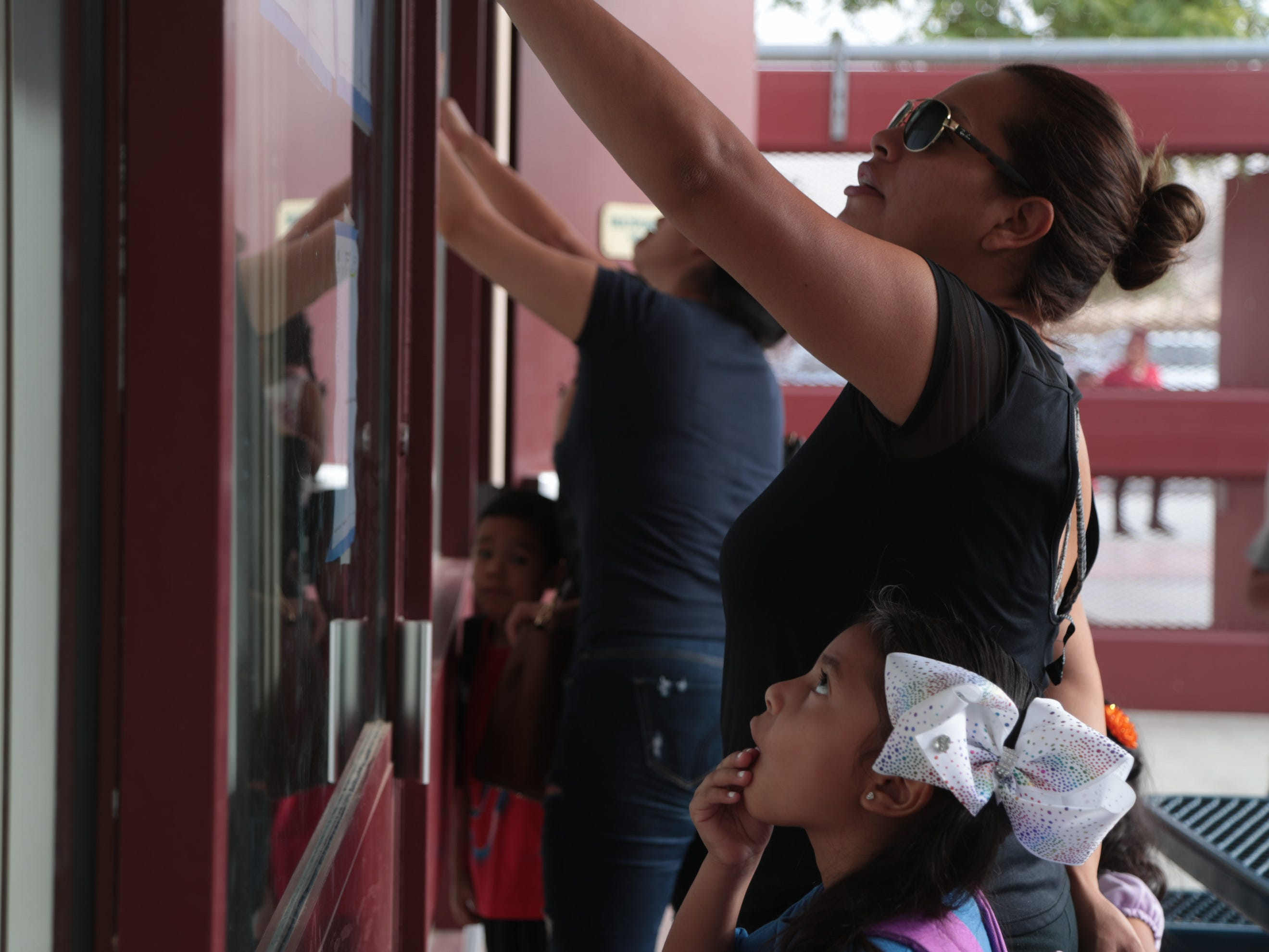 Students return for the first day of school at Bubbling Wells Elementary School in Desert Hot Springs, Calif., August 8, 2018.
