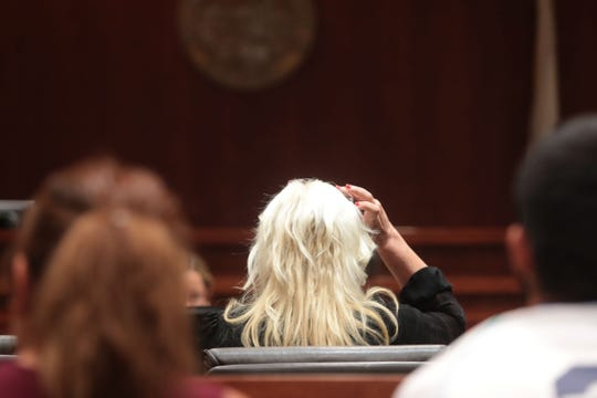 Tracy Zona in court at the Riverside County Courthouse in Palm Springs on Wednesday, August 8, 2018. Her ex-husband's friends Howard Appel and Ernest Bartlett are suing her for harassment over topics she discusses about them in her blog.