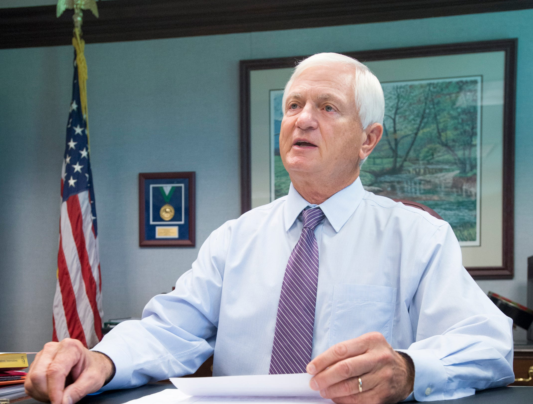 President Edward Meadows talks about performance funding  at Pensacola State College on Wednesday, August 8, 2018.