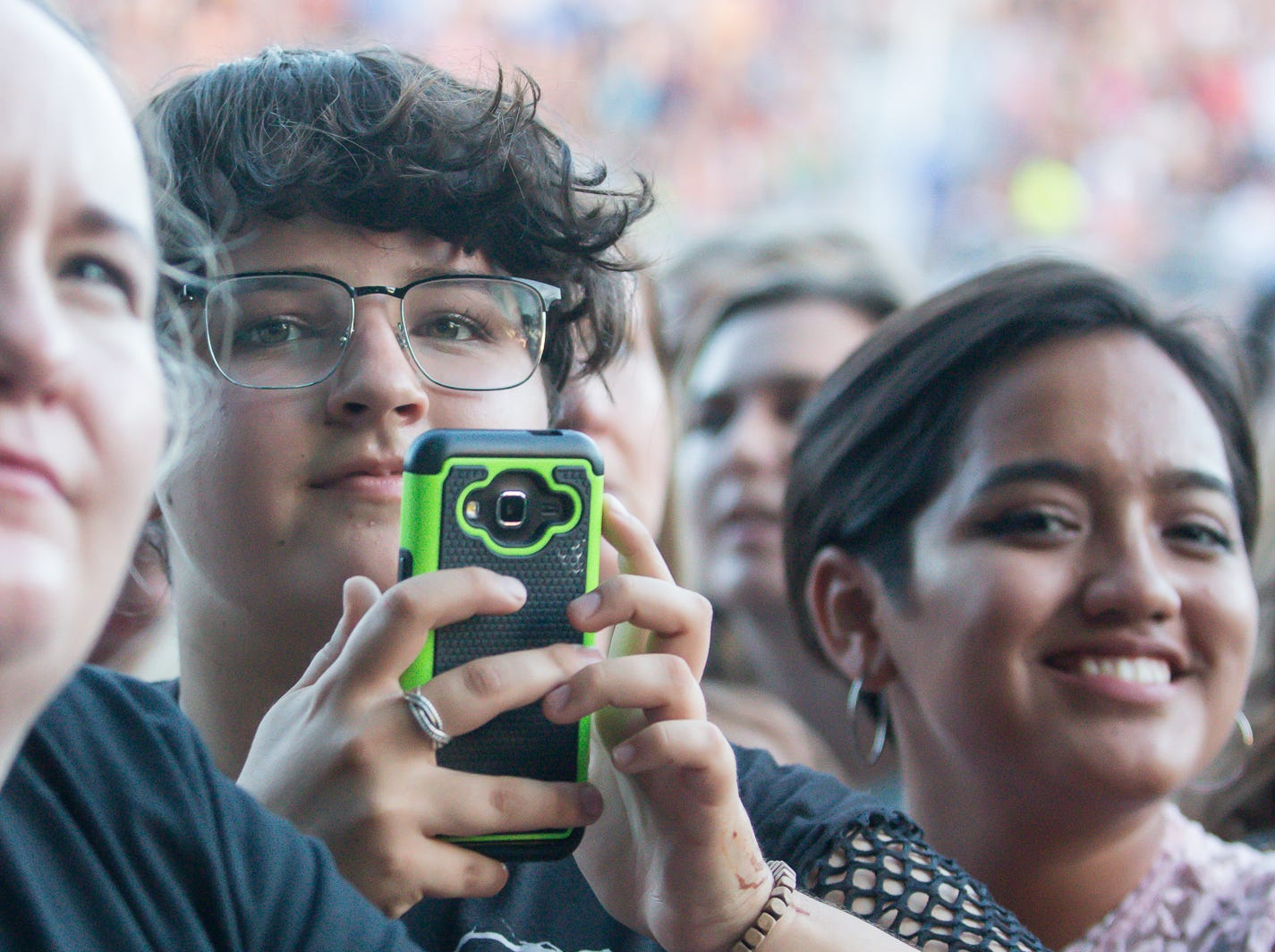 Fans enjoy Grace VanderWaal's opening performance at the Wharf Amphitheater in Orange Beach on Tuesday, August 7, 2018, during Imagine Dragons' Evolve World Tour.
