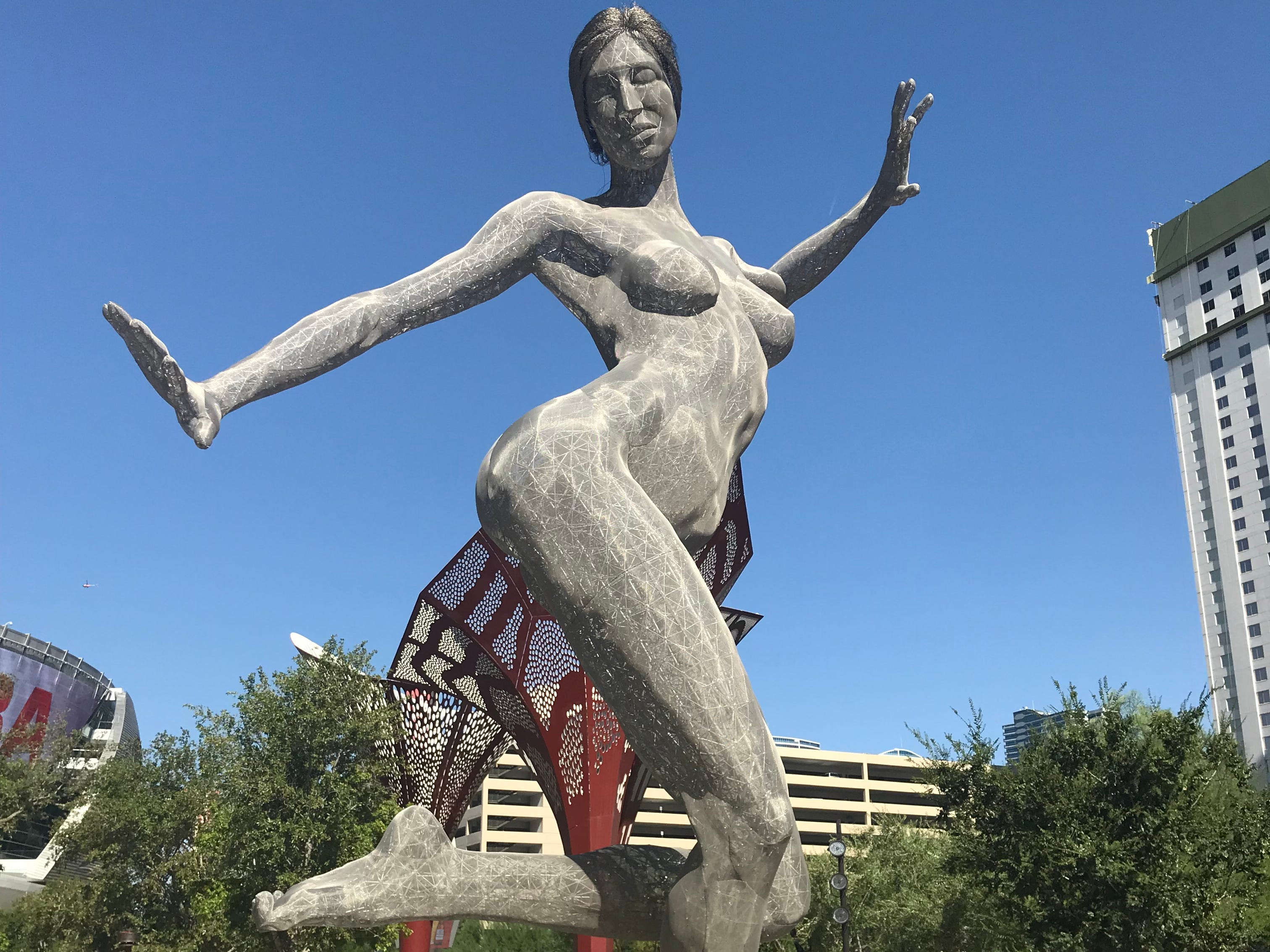 The 40-foot Bliss Dance sculpture is a centerpiece of The Park Vegas.